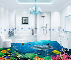 3D Dophin Coral Colorful Fish Under the Sea Floor Decals