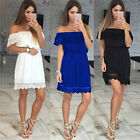 Fashion Sexy Women Evening Party Slash Neck Lace Patchwork  Summer Mini Dress A