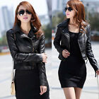 NEW Womens Fashion Sexy Black BIKER JACKETS Crop PU LEATHER Ladies Jacket Coats