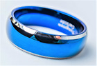 Tungsten Carbide Blue Domed Two Stripes Bevelled Silver Edges Wedding Band Ring