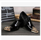 Men's Metal Pointed Toe Genuine Leather Formal Dress Punk Shoes Breathable Hot