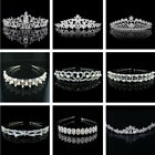 Silver Bridal Veil Tiara Diamante Rhinestone Crown Wedding Party Prom Headband