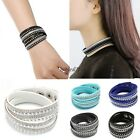 on Women Crystal Rhinestone Rivets Wrap Around Ropes Leather Bracelet Chain 8HOT