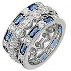 Sterling Silver Stackable Blue Sapphire & Clear CZ  3in1 Set Band Ring Size 5-9