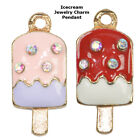 Icecream Popsicles Paved Cooper Crystal Jewelry Pendant Charm Gold Plated 6pcs
