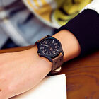 Fashion Sports Running Men's Women Military Leather Band Quartz Wrist Watch Date