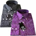 Relco Men's Long Sleeve Cotton Button Down Black Purple Paisley Floral Shirt