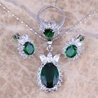 Green Emerald White Topaz Silver Jewelry Sets Earrings Pendant Ring S0414