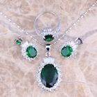 Green Emerald White Topaz Silver Jewelry Sets Earrings Pendant Ring S0422