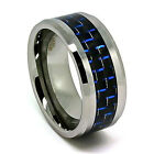 10mm Black & Blue Carbon Fiber Inlay Tungsten Carbide Wedding Ring Sizes 7-17