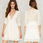 New Women White Lace Half Sleeve Party Evening Cocktail Short Mini Bodycon Dress