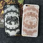 Clear Henna Flower Paisley Tribal Elephant Cover Hard PC Case For iPhone 6s Plus