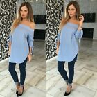 Sexy Womens Casual Loose T-shirt Tops Bow Long Sleeve Off Shoulder Shirt Blouse