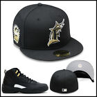 New Era Florida Marlins Fitted Hat All Black/Gold For Jordan Retro 12 the master on Ebay