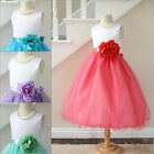 Lovely White coral mint green turquoise fuchsia lilac flower girl party dress