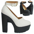 WOMEN LADIES ANKLE PLATFORM HIGH HEEL ANKLE STRAP COURT SHOE SIZE UK 3 4 5 6 7 8