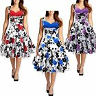 Floral Printed Rockabilly Vintage Swing Dress Sexy Women Ladies Cocktail Dress
