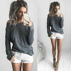 Pure Color Shoulder Off Women Long Sleeve Casual Tees Sexy Loose Blouse Tops A