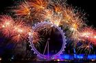 Fireworks over the London Eye UK New Years Eve Large Canvas Picture Wall Art