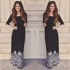 New Spring Womens Casual Vintage Lace Office Work Dress Boho Beach Maxi Vestidos