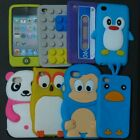 1x 3D Penguin Panda Monkey Tape block silicone case cover for ipod touch 4 4th