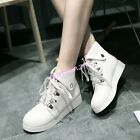 Womens Casual Lace Up Short Riding Boots Low Heels Faux Leather Shoes British