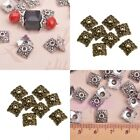 Lots 100pcs Retro Silver/Bronze Tone Flower&Square Hollow Bead Caps Finding 8mm