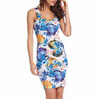 Womens Celebrity Floral Print Ladies Bodycon Sleeveless Short Mini Midi Dress
