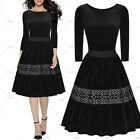 Women Vintage 1950s Cocktail Party Casual Embroidered Swing Pleated Flare Dress