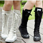 Winter Women Shoes US Canvas Boot Zip Lace Up Knee High Idea Gift Sneaker Pumps