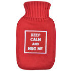 Small Mini Hot Water Bottle & Knitted Red Cover With Keep Calm & Hug Me Design