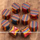 Pair Wood Colorful Red Stripes Saddle Flared Ear Plugs Tunnel Expander Stretcher