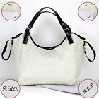 Nappy Diaper Bag Delux Quilted Cream Patent Leather PERSONALISED Bag & FREE Mat