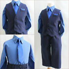 Boy Navy dark blue wedding party dress shirt vest and tie 4 pc set formal suit