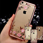 Flower Clear Diamond Shockproof Soft TPU Silicone Case for iPhone 4 5 6 7 plus