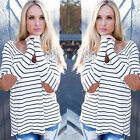 Vintage Women Long Sleeve Casual Tops Black White Striped Sexy Patch Shirts
