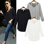 Women's Ladies Long Sleeve T Shirts V Neck Blouse Top Casual Loose Tee Tops New