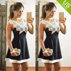 Lady Lace Sleeveless V Neck Low-Cut Cocktail Evening Party Mini Sexy Dresses