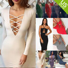 Sexy Women V Neck Cross Open Front Lace Up Long Sleeve Bandage Bodycon Dress
