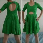 Women Dress Mini Lace green off shoulder cut back casual party skater dresses
