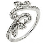Sterling Silver Sideway Pave Set Leaf Vine Clear CZ Promise Lucky Ring Size 3-11