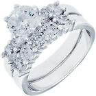 Sterling Silver Clear CZ Wedding Engagement Promise 2 in 1 Set Ring Size 3-13