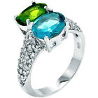 Sterling Silver Pave Set 2 Stone Blue Green & Clear CZ Promise Ring Size 3-11