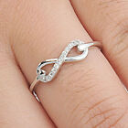 925 Sterling Silver Sideways Endless Love CZ Infinity Love 6 mm Ring Size 3-12