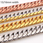 """7"""" 40""""13/16mm Charming Men's Chain 316L Stainless Steel CURB CUBAN Link Necklace"""