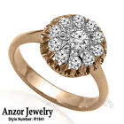 14k Solid Rose & White Gold Genuine Diamond Ring Russian Style Jewelry #R1941
