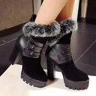 Women Furry Block High Heels Ankle Boot Suede Buckle Platform Knight Shoes