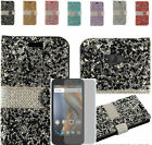 Tempered Glass+Rhinestone Leather Wallet Case Cover For Coolpad Catalyst 3622a