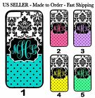 Custom Personalized Monogram dots Damask Teal Pink Case Cover For iPod 6 5 4