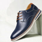 New Fashion Mens Lace Up Faux Leather Round Toe Breathable Casual Leather Shoes
